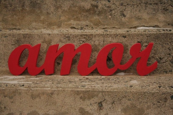 Recycled Wooden Amor sign