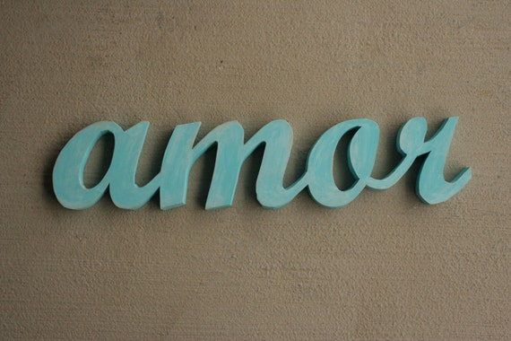 Sale Cyber Monday Recycled Wooden Amor sign in distressed Island Blue