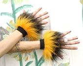 HOneY Bee Wrist Cuffs SPaRkLe Faux Fur -- Yellow & Black -- fluffy glitter fur -- costume adult hula hoop dance phunky pixie retro