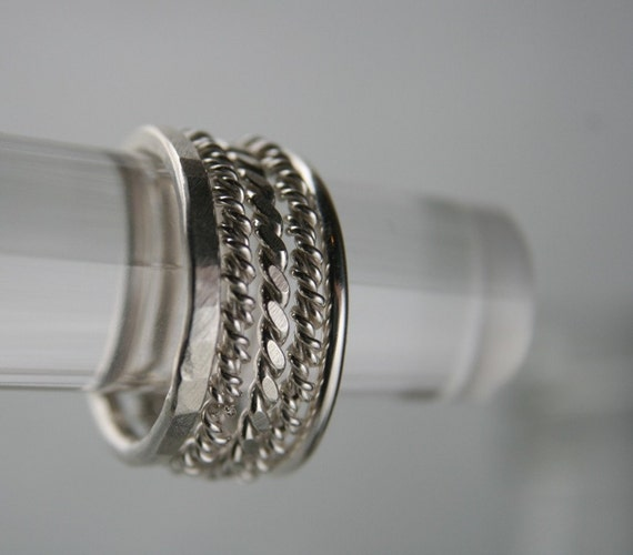 Sterling Silver Stack Rings Twisted & Hammered set of 5 Made to Order