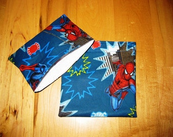 Md/Sm Spiderman Reusable Snack Sandwich Baggie Bag Set with water resistant lining