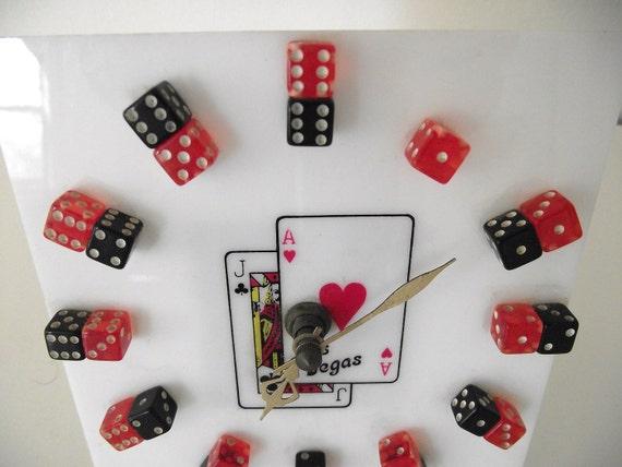 Vintage Plastic Las Vegas Souvenir Dice Desk Clock