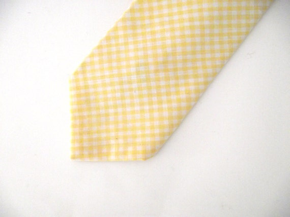 Vintage Yellow and White Gingham Tie