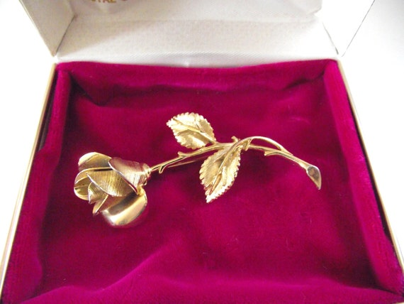 Vintage Gold Rose Pin or Brooch in Original Box Pastelli by Royal of Pittsburgh