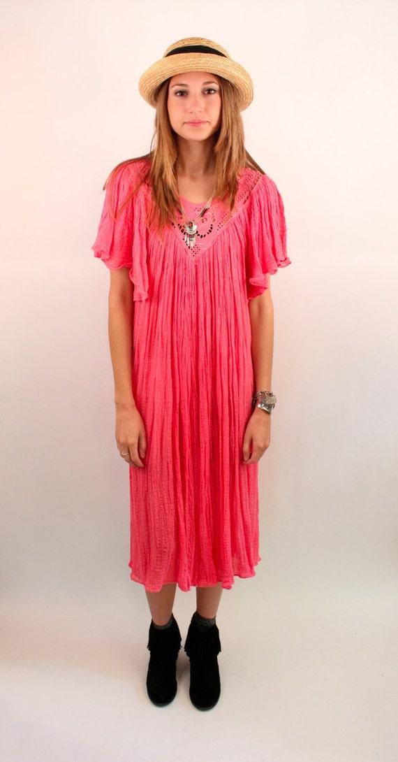 NAP 80s Cotton Gauze Slouchy Ruffled Mexican Maxi Dress