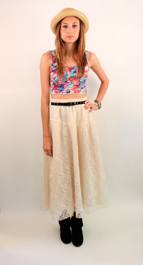 SPOILED GIRLS 80s High Waist Ruffle Creme Lace Maxi Skirt