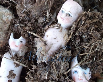 In The Dirt  Original Old Doll 5x7 Print By ALTEREDHEAD ORIGINAL Dark Grunge Macabre Art Print  Symbolic Photo Prints Old Doll Photo Digital