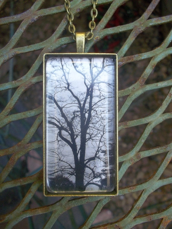 A Time To Be Alone  Handmade Gothic Tree Pendant Necklace Free Shipping In US