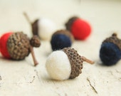 Patriotic RED WHITE & BLUE Wool Felted Acorns set of 24
