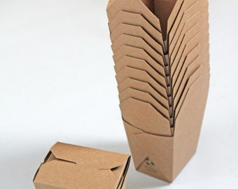 Brown Kraft 100% Recycled 16 oz Chinese Style Takeout Boxes Set of 10-  As Seen In Better Homes and Gardens Food Gift Magazine