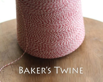 25 yards Red and White Baker's Twine- 4 ply FREE SHIPPING on  twine w/ additional purchase   Baking Supplies | Wedding Decor