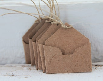 White Mini Envelope Tags Set of 9 with Hemp String- As Seen In Better Homes and Gardens Food Gift Magazine