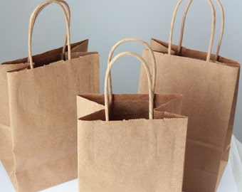 Recycled Kraft Handle Bags Lot of 50  8x 5 1/4 x 3 1/2 inches