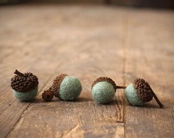 Set of 6 ISLAND MINT  Wool Felted Acorns| Home Decor | Woodland Wedding | Beach House Decor