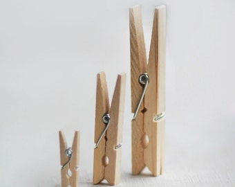 Small Natural Wooden Clothespins Set of 12