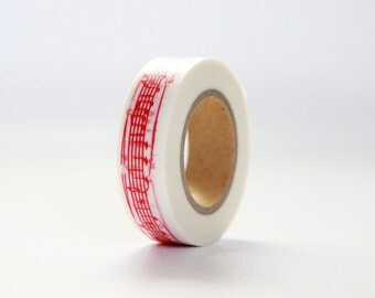 SYMPHONY RED Japanese Washi Tape- Single Roll 15mm