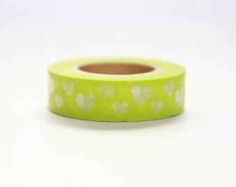 YELLOW-GREEN HEARTS- Single Roll 15mm