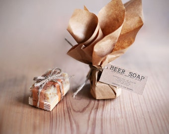 Mini BEER Soap Party FAVORS with wooden soap dish Gift Set Made In The OZARKS-  Set of 30