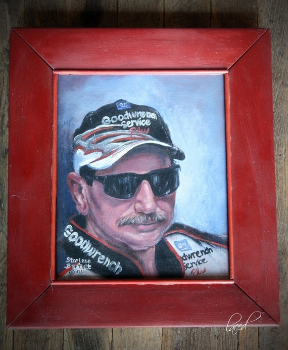 NASCAR Dale Earnhardt Painting Commemorating 10 years   12 1/4 x14