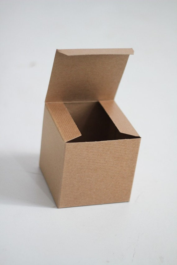 25- 5x5x5 inch Kraft Gift Boxes -Kraft Solid surface or Pinstripe  || Rustic Wedding Boxes, Coffee Mug Box,  Party Favor Box, Candy Box