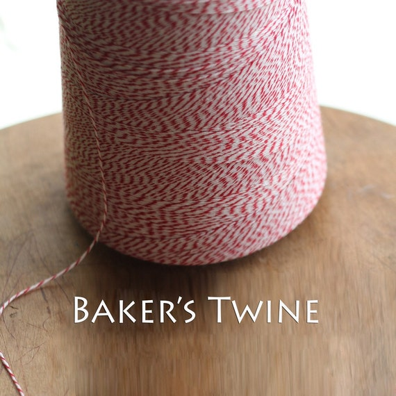 25 yards Red and White Baker's Twine 4 ply FREE SHIPPING with additional purchase
