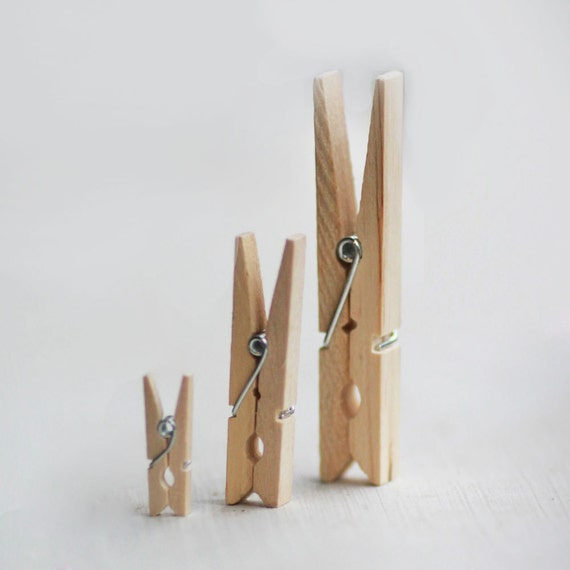 Small Natural Wooden Clothespins Set of 70