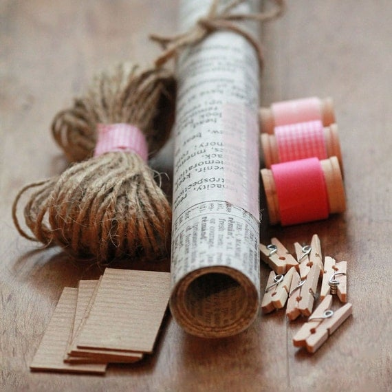 VALENTINES Gift Wrapping KIT-  Waxed Tissue Wrapping Paper-Washi Tape- Mini Clothespins- Jute- Kraft Tags