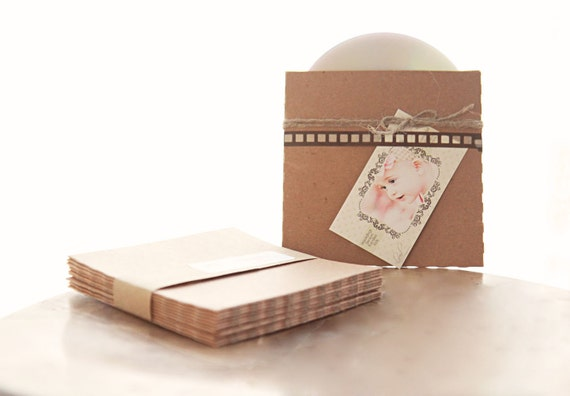 Recycled Kraft CD Sleeves- Set of 20- Great for photography packaging or wedding love songs favors