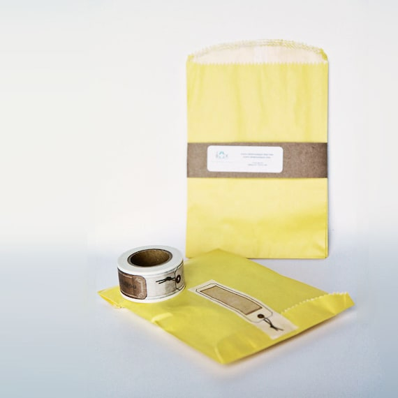 Lot of 24 YELLOW glassine-lined MERCHANDISE BAGS 4-3/4 X 6-3/4 || Wedding Favor Bags, Treat Bags, Summer Party Favors