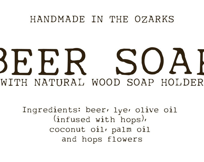 Mini BEER Soap Party FAVORS with wooden soap dish Gift Set Made In The OZARKS- Set of 12 |Rustic wedding, bridal shower, client gift