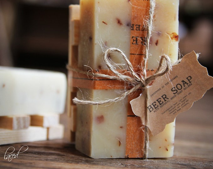 BEER SOAP w/ Wood Holder Gift Set {Made In The OZARKS} | Luxury Soap, Sea Salt Soap Bar, Detoxifying Soap, Detox Soap, Rustic Gift, Man Gift
