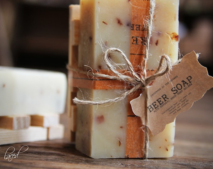 BEER SOAP w/ Wood Holder Gift Set {Made In The OZARKS} | Luxury Soap, Sea Salt Soap Bar, Detoxifying Soap, Detox Soap, Rustic Gift, Man Gift
