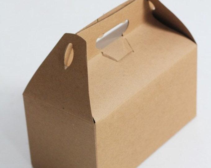 9.5 x 9 x 5  Kraft Natural Gable Gift Box lot of 7
