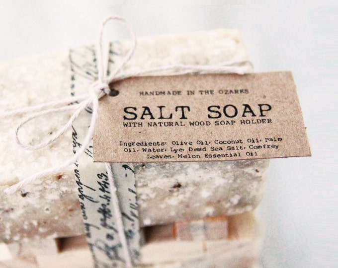 SALT SOAP bar Made In The OZARKS |Luxury Soap, Sea Salt Soap Bar, Detoxifying Soap, Detox Soap, Rustic Gift, Man Gift