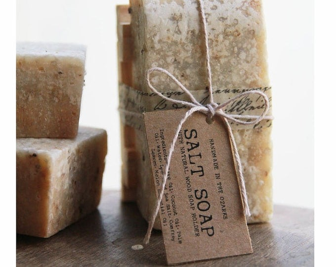 SALT SOAP w/ wooden soap dish -Gift Set - Made In OZARKS- |Sea Salt Soap Bar, Detoxifying Soap, Detox Soap, Rustic Gift, Man Gift