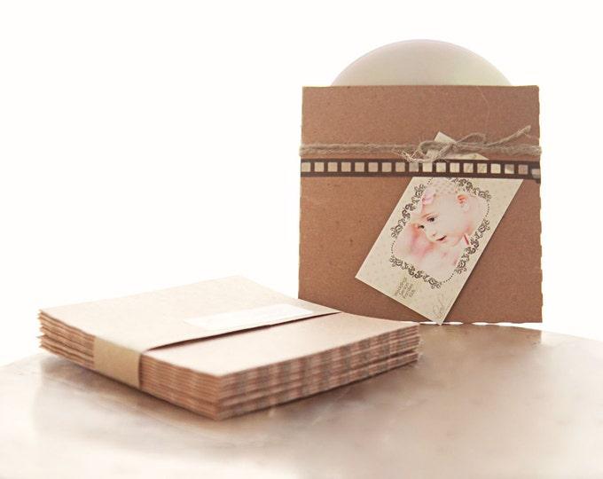Recycled Kraft CD Sleeves- Set of 10   wedding cd sleeve, kraft envelope, cd cover, wedding songs favor, photography packaging