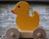 Cyber Monday Etsy Eco Friendly. Fun . Duck Wood Pull Toy . Vintage Inspired . Out of the Bath FUN . Rubber Ducky look alike .  Heirloom Qua