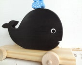 Black Whale Wood Pull ToY  - Black with Blue Water Spout  - Vintage Inspired & Heirloom Quality - Made to Order