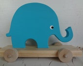 Elephant Wood Pull Toy - Turquoise Blue - Soy Paint - Babies and Toddlers Love - Ready to Ship