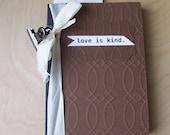 embossed mini notebook . coffee brown . love is kind . mini journal . date keeper . birthday gift holder