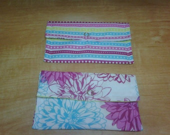 Snap Wallet set of 2 Stripes and Flowers