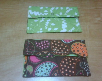 Snap Wallet set of 2 Green and Brown