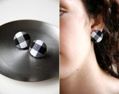 Nickel-Free Fabric Button Earrings - Large Black Gingham
