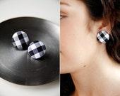 Nickel-Free Fabric Button Earrings - Medium Black Gingham