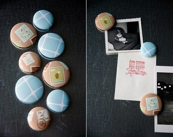 Fabric Button Magnet Set - Postage Stamp