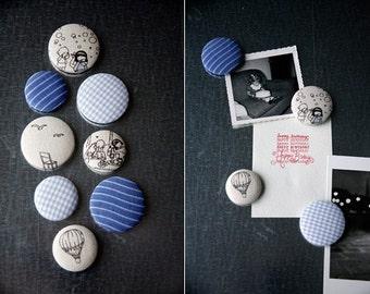 Fabric Button Magnet Set - Blue