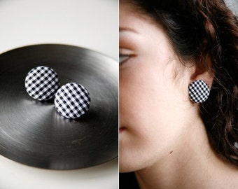 Nickel-Free Fabric Button Earrings - Small Black Gingham