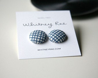 Nickel-Free Fabric Button Earrings - Blue Crosshatch