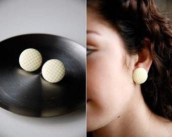 Nickel-Free Fabric Button Earrings - Yellow Gingham