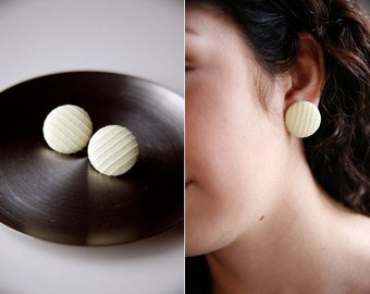 Nickel-Free Fabric Button Earrings - Yellow Stripe